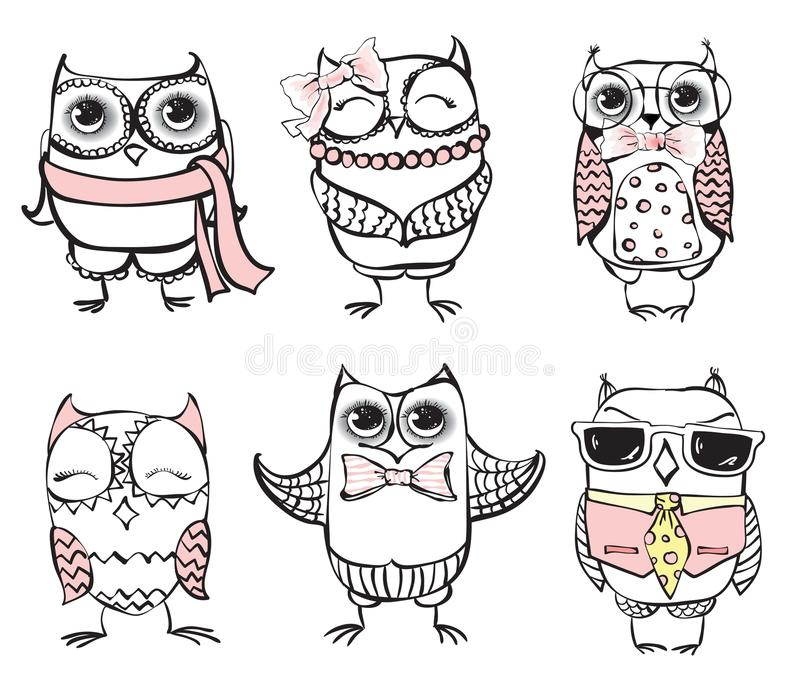 inställda gulliga owls stock illustrationer
