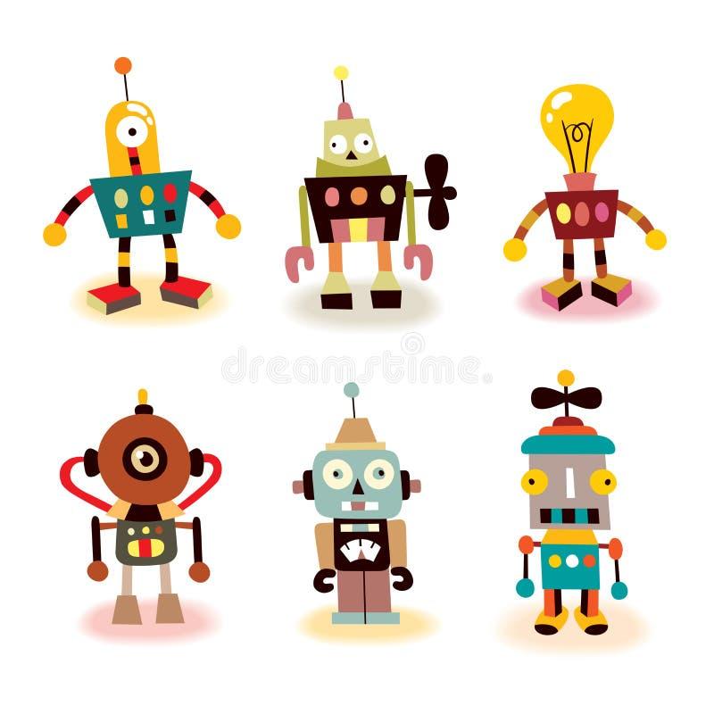 inställda gulliga robotar vektor illustrationer