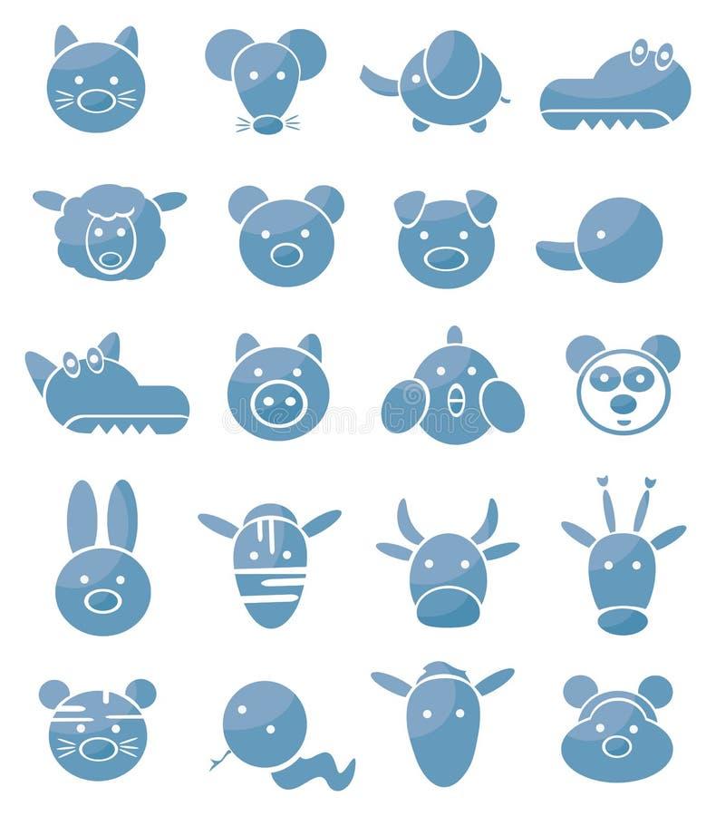 inställda gulliga symboler för djur stock illustrationer