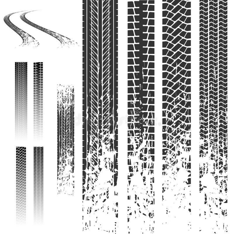 Inställda gummihjulspår stock illustrationer