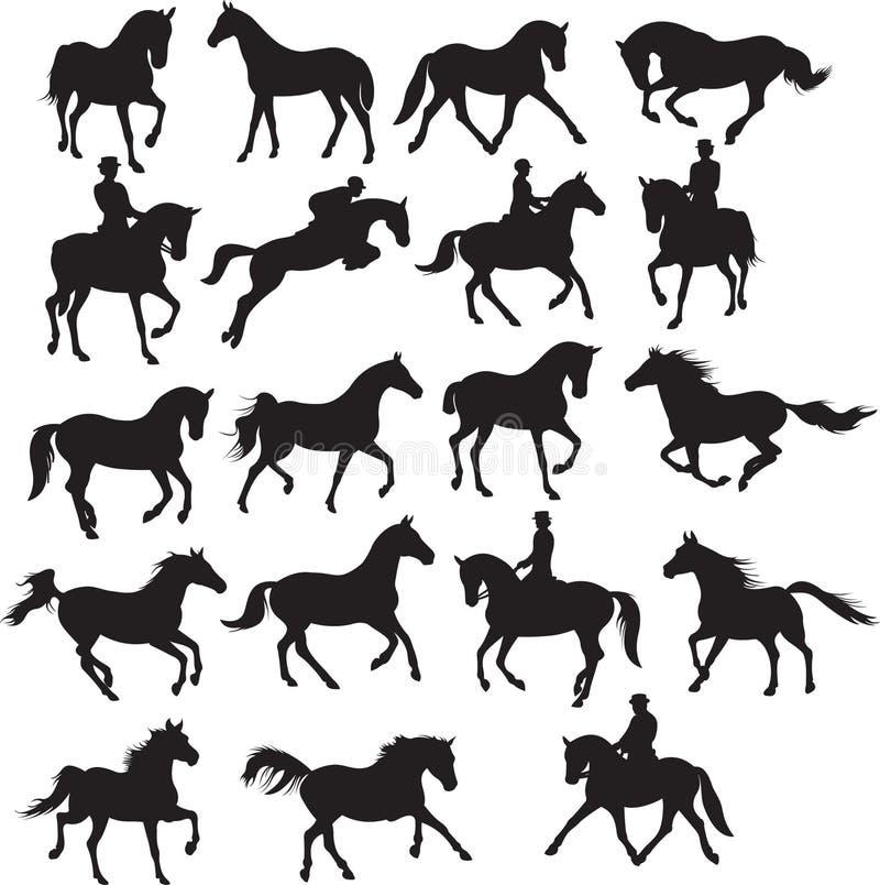 inställda hästar stock illustrationer