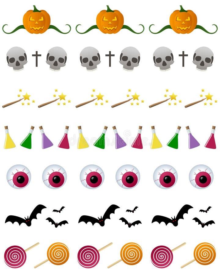 Inställda Halloween avdelare vektor illustrationer