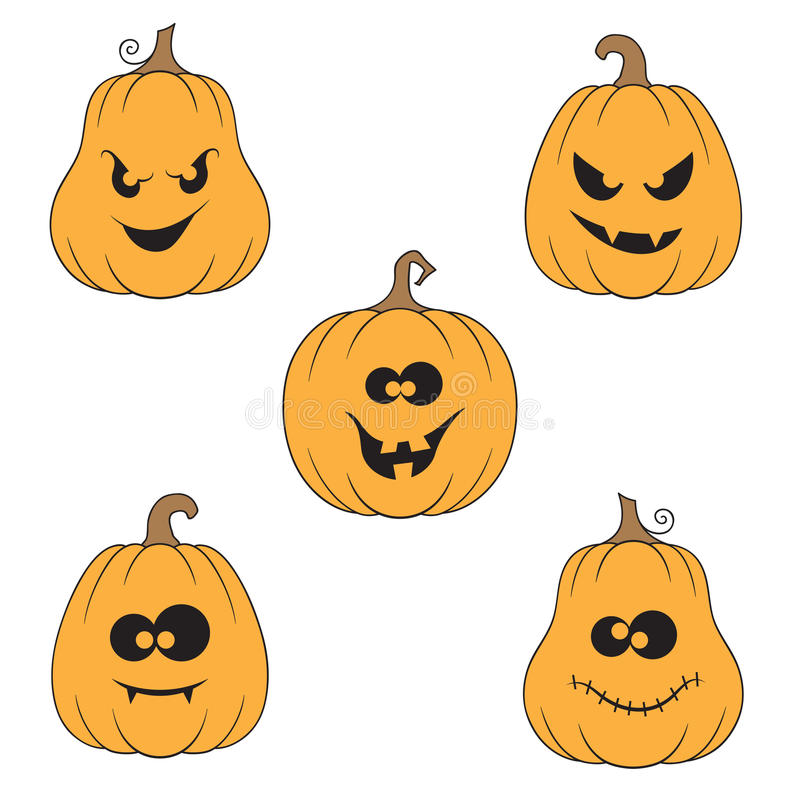 inställda halloween pumpor royaltyfri illustrationer