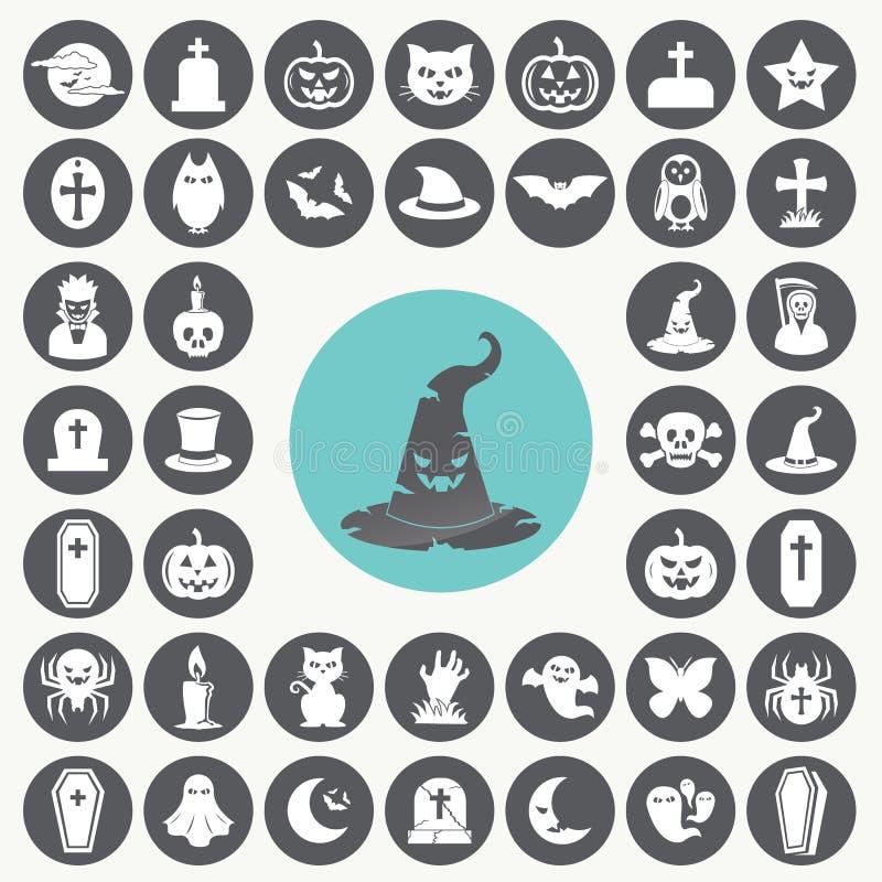 inställda halloween symboler stock illustrationer