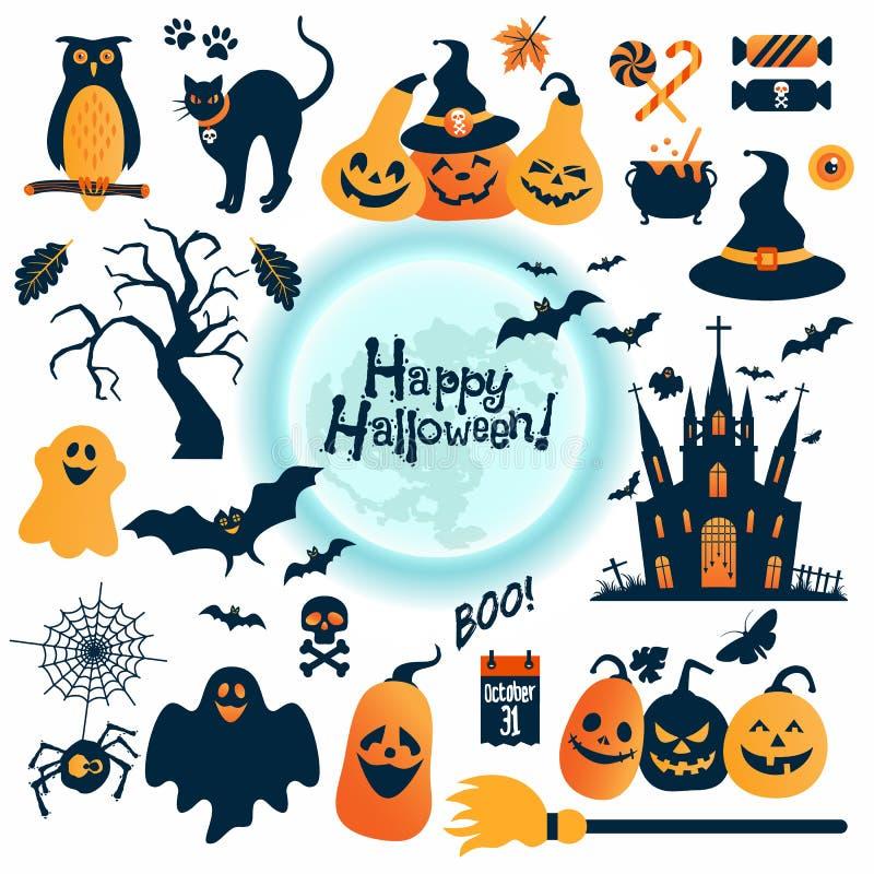 inställda halloween symboler den lätta designen redigerar element till vektorn stock illustrationer