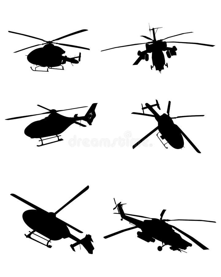 inställda helikoptrar royaltyfri illustrationer