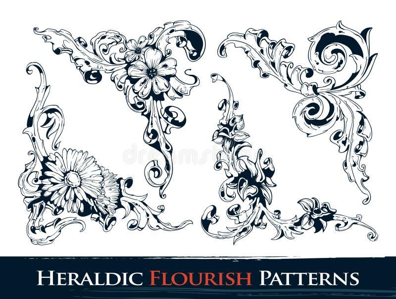 inställda heraldiska modeller för krusidull stock illustrationer
