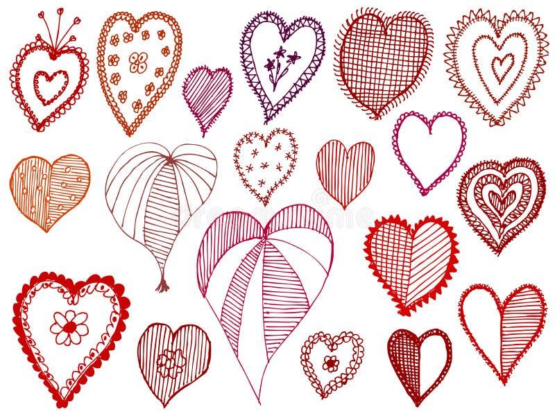 inställda hjärtor royaltyfri illustrationer