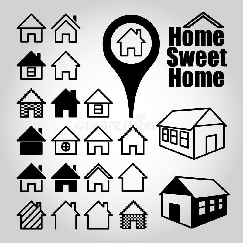 inställda home symboler stock illustrationer