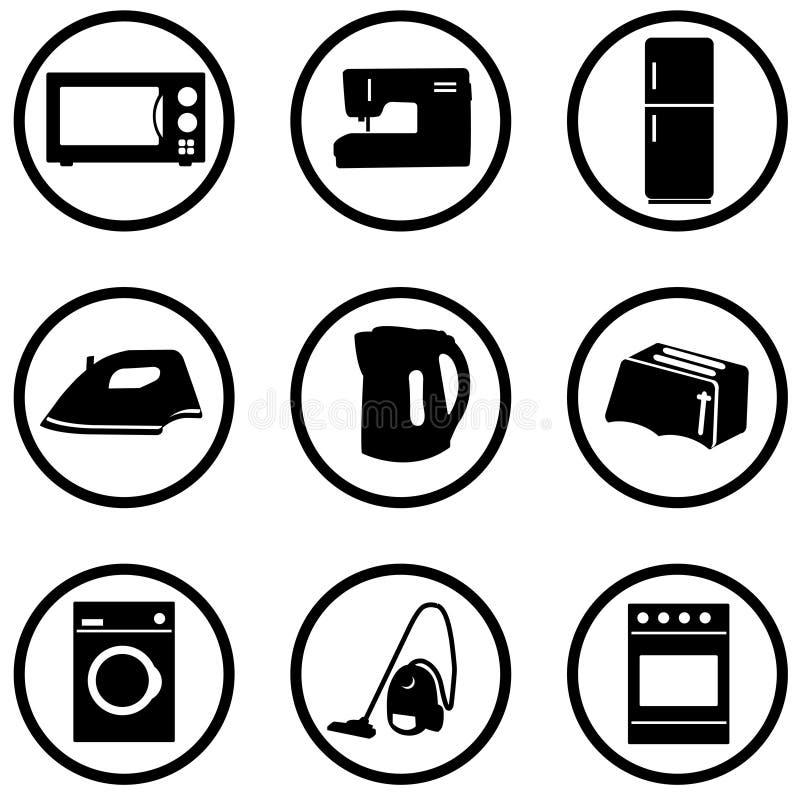 inställda home symboler för anordning stock illustrationer
