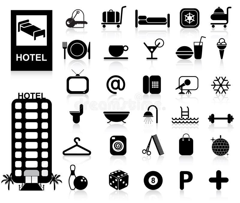 inställda hotellsymboler stock illustrationer