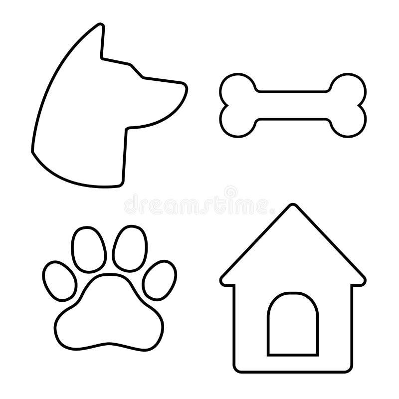 inställda hundsymboler Hundhuvudet, tafsar, benar ur, hundhuset vektor vektor illustrationer