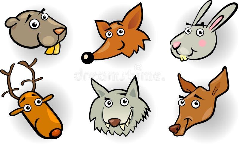 Inställda huvud för tecknad filmskogdjur stock illustrationer