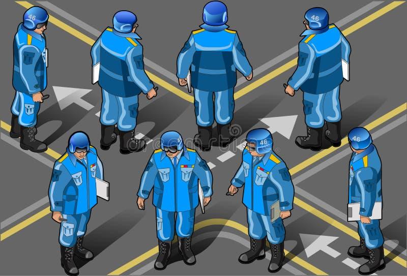 inställda isometriska militära fredsbevarare royaltyfri illustrationer