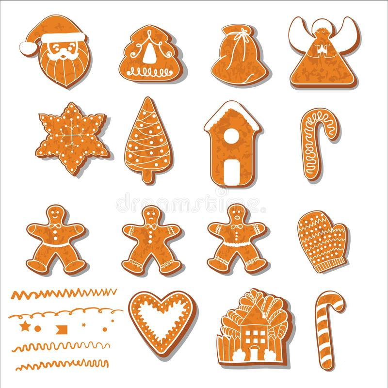 inställda julkakor Ställ in av olika pepparkakakakor för jul Pepparkaka för nytt år i form av jul vektor illustrationer