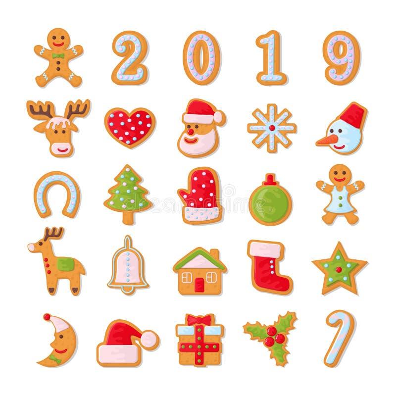 inställda julkakor Ställ in av olika pepparkakakakor för jul Pepparkaka för nytt år i form av jul stock illustrationer