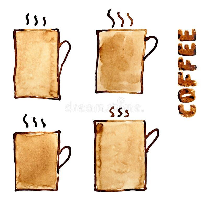 inställda kaffekoppar vektor illustrationer