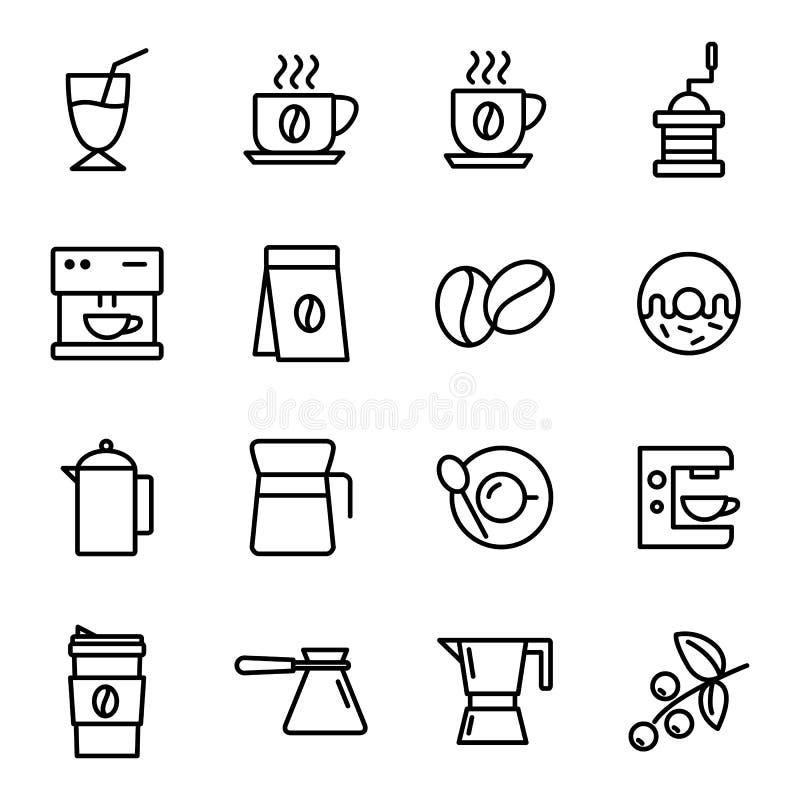 inställda kaffesymboler stock illustrationer