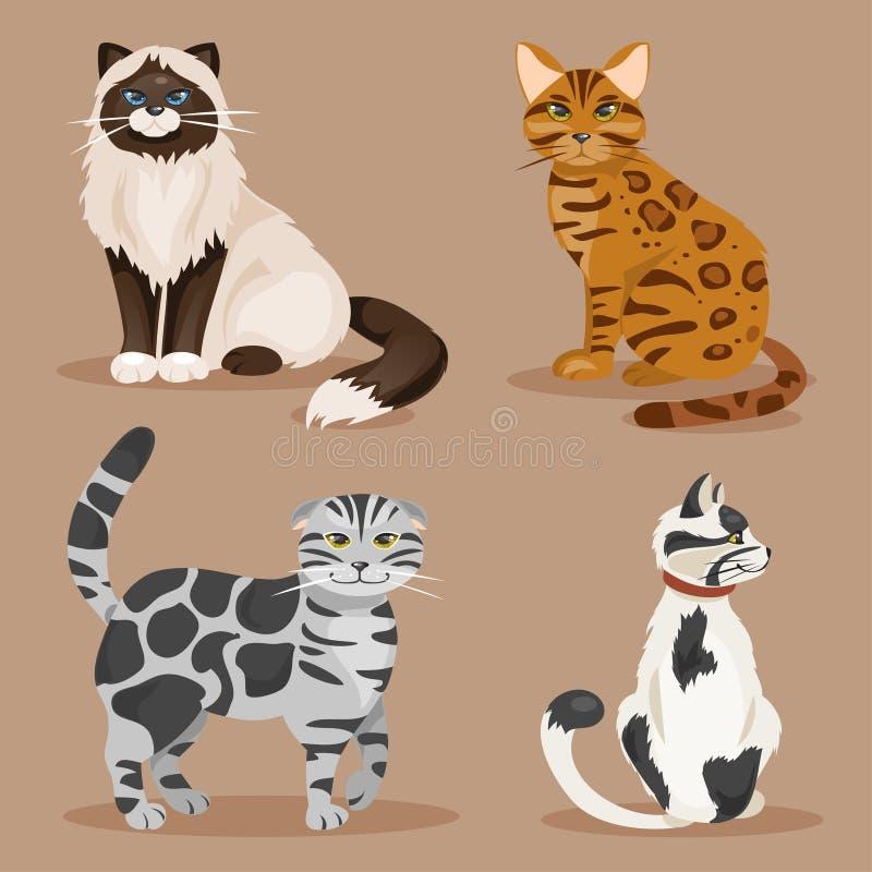 inställda katter också vektor för coreldrawillustration royaltyfri illustrationer