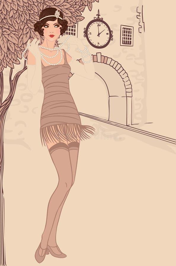 Inställda klaffflickor: stil för tappningkvinna in1920s stock illustrationer
