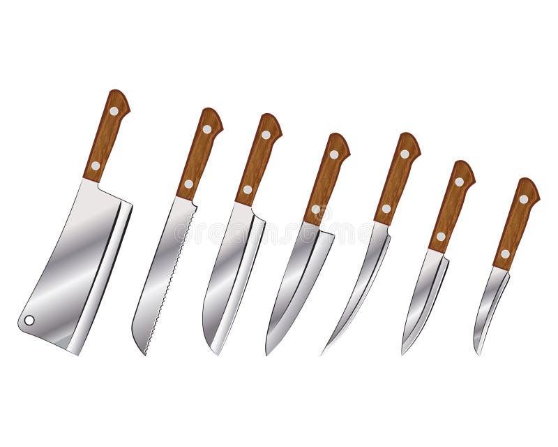 inställda knivar royaltyfri illustrationer