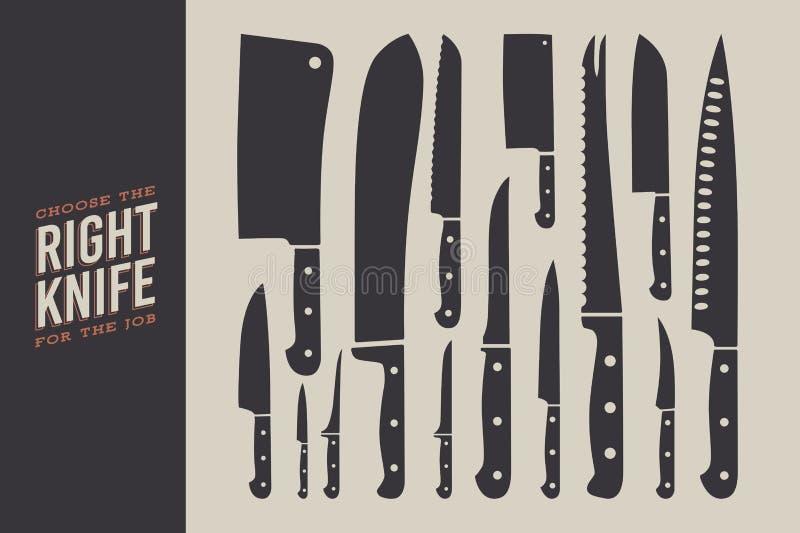 inställda knivar Köktillbehör som isoleras på ljus bakgrund royaltyfri illustrationer