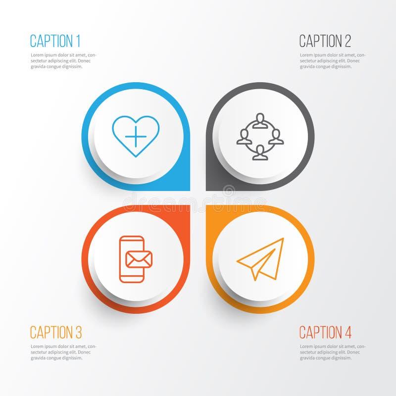 inställda kommunikationssymboler Samlingen av Team Organisation, start, tillfogar till favoriter och andra beståndsdelar Inkluder stock illustrationer