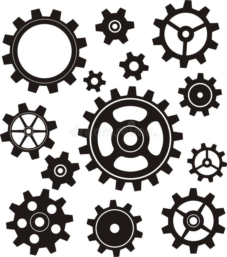 Inställda kugghjul stock illustrationer