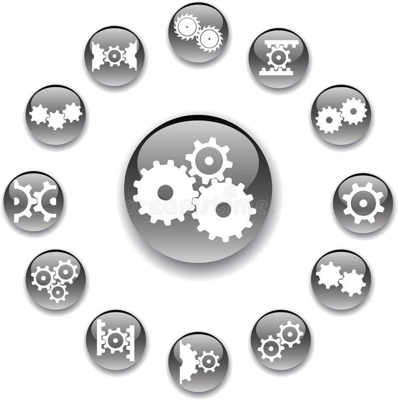 inställda kugghjul för knappar 31a royaltyfri illustrationer