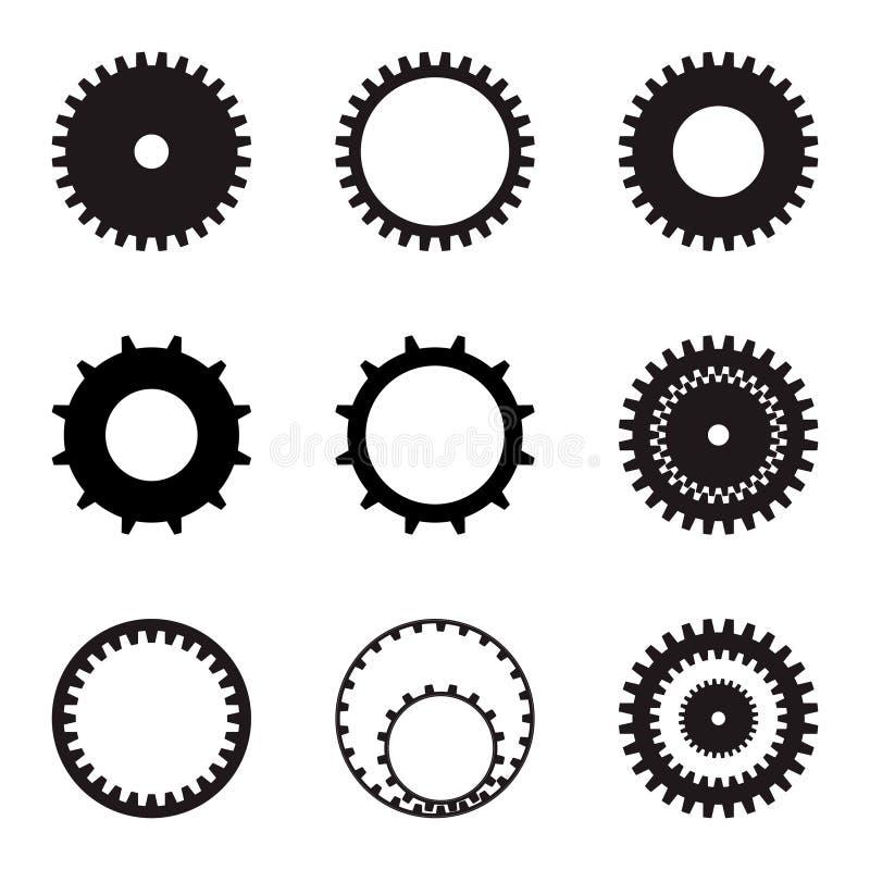 inställda kugghjul Svarta konturer på en vit bakgrund var kan formgivare varje för objektoriginal för evgeniy diagram självständi royaltyfri illustrationer