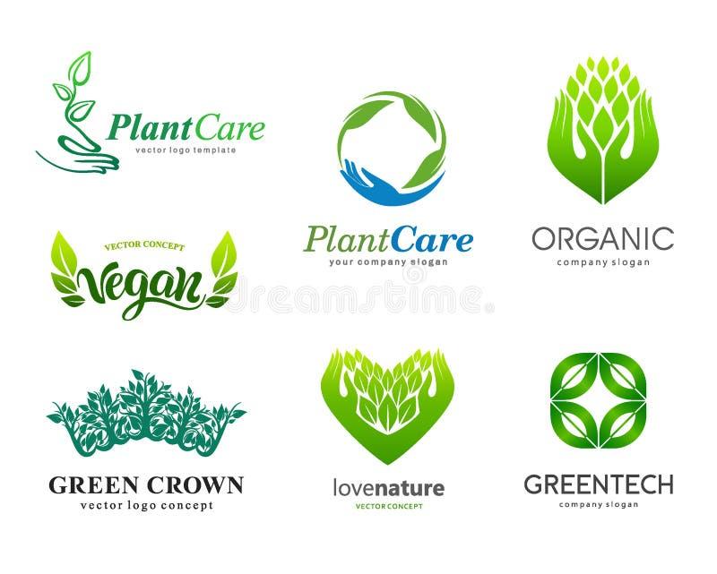 inställda logoer Växtomsorg, eco som är organisk Sunt äta och en sund livsstil stock illustrationer