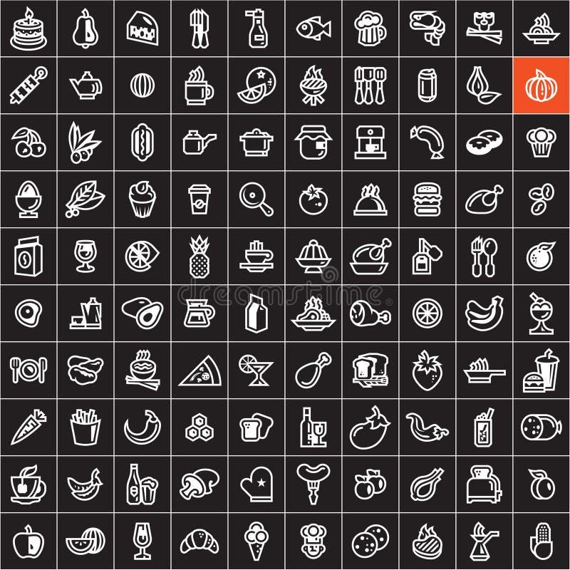 inställda matsymboler Matsymboler på svart bakgrund royaltyfri illustrationer