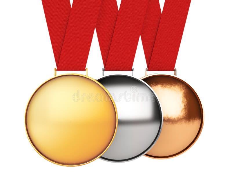 inställda medaljer bronze guldmedaljsilver framförande 3d stock illustrationer