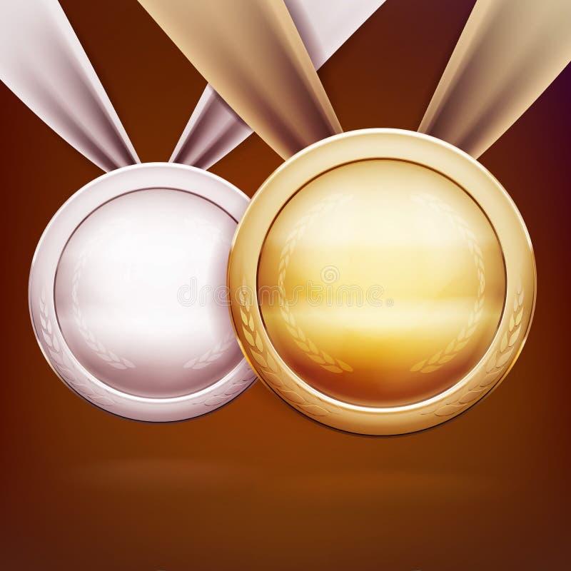 inställda medaljer Guld- silver- och bronsutmärkelser för utmaningmästare stock illustrationer