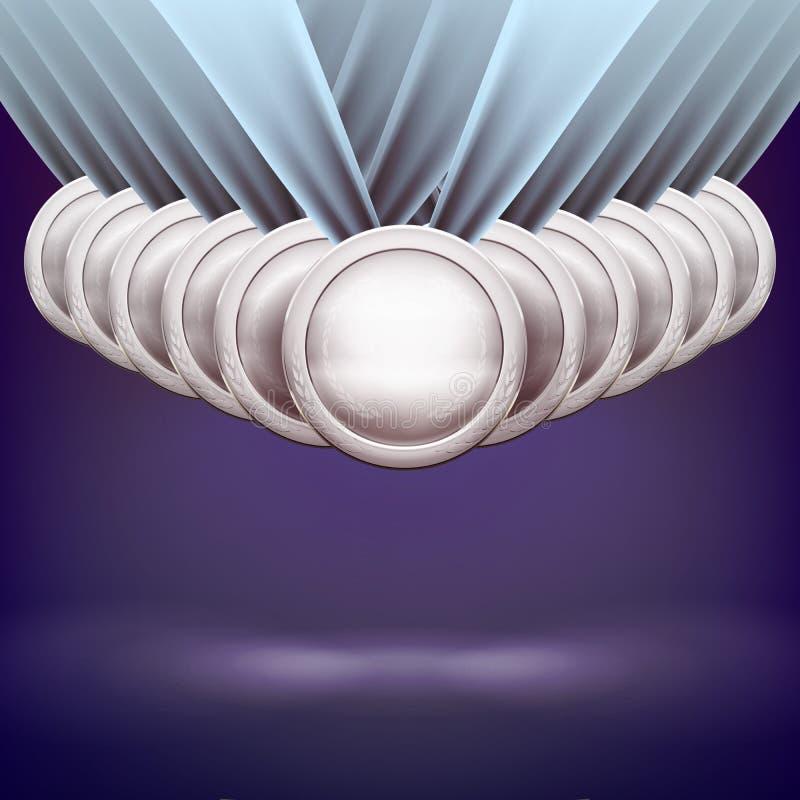 inställda medaljer Guld- silver- och bronsutmärkelser för utmaningmästare royaltyfri illustrationer