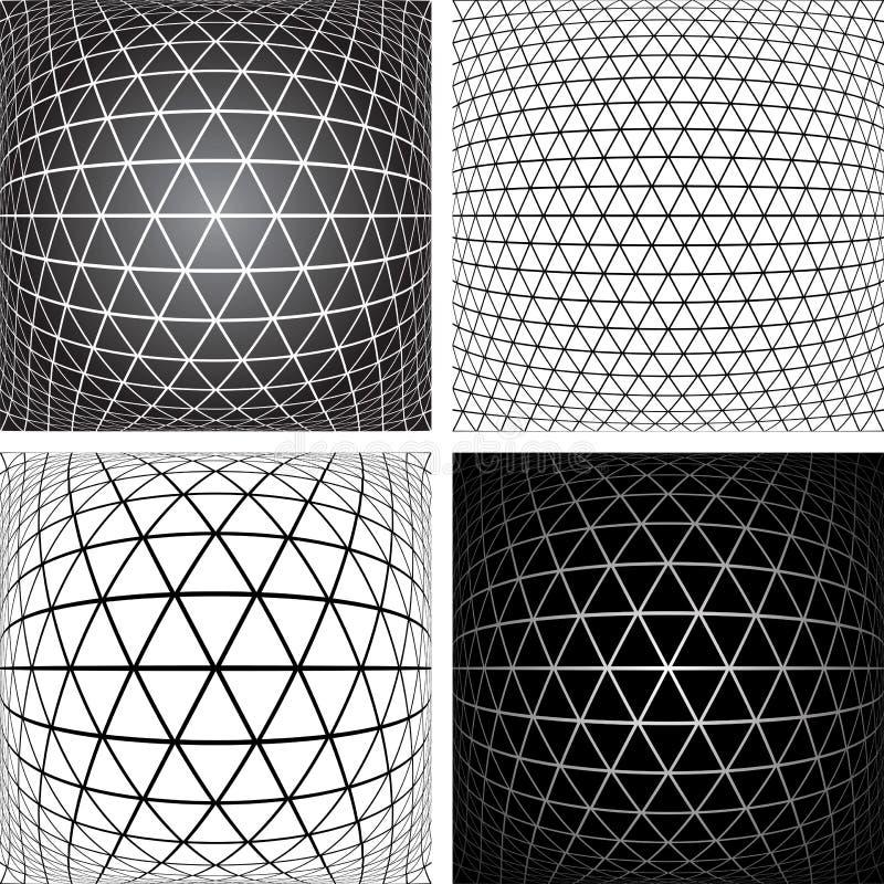Inställda modeller geometriska latticed texturer 3D stock illustrationer