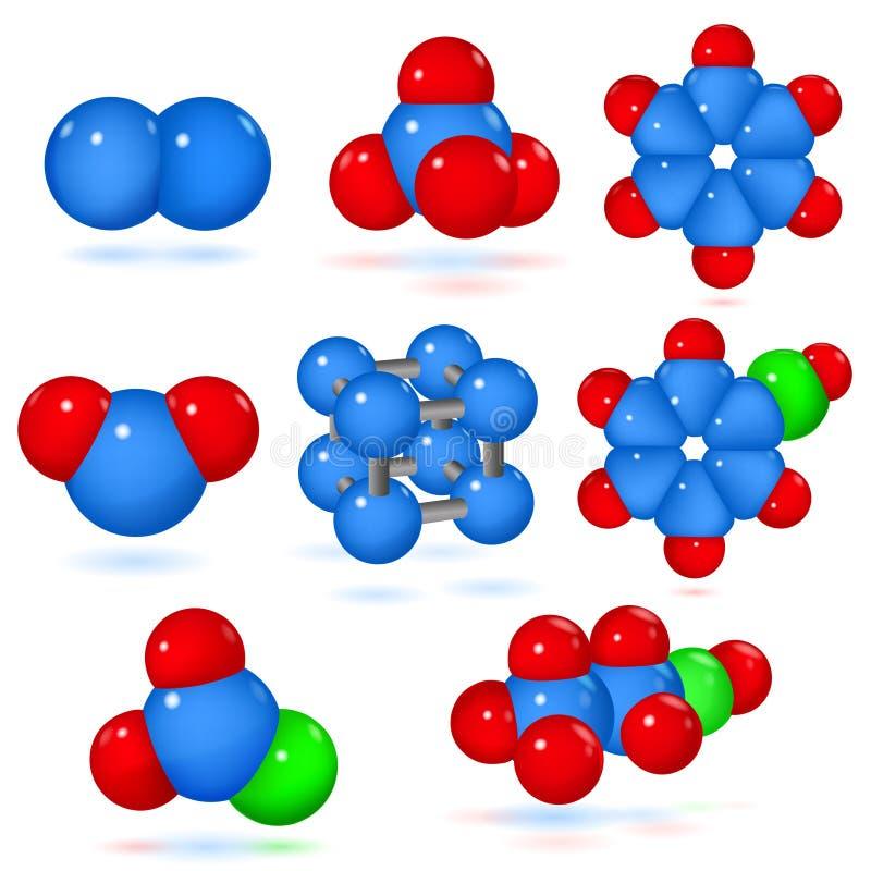 inställda molekylar stock illustrationer