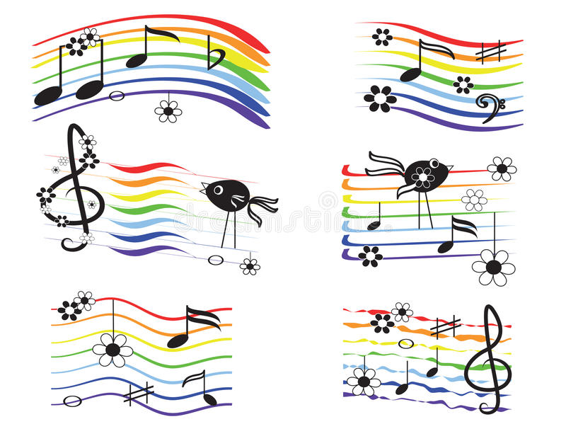 inställda musikregnbågar royaltyfri illustrationer