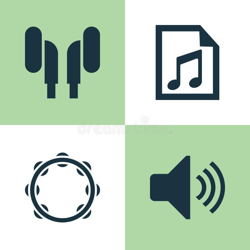 Inställda musiksymboler Samling av mapp, Timbrel, Earmuff och andra beståndsdelar Inkluderar också symboler liksom volym vektor illustrationer