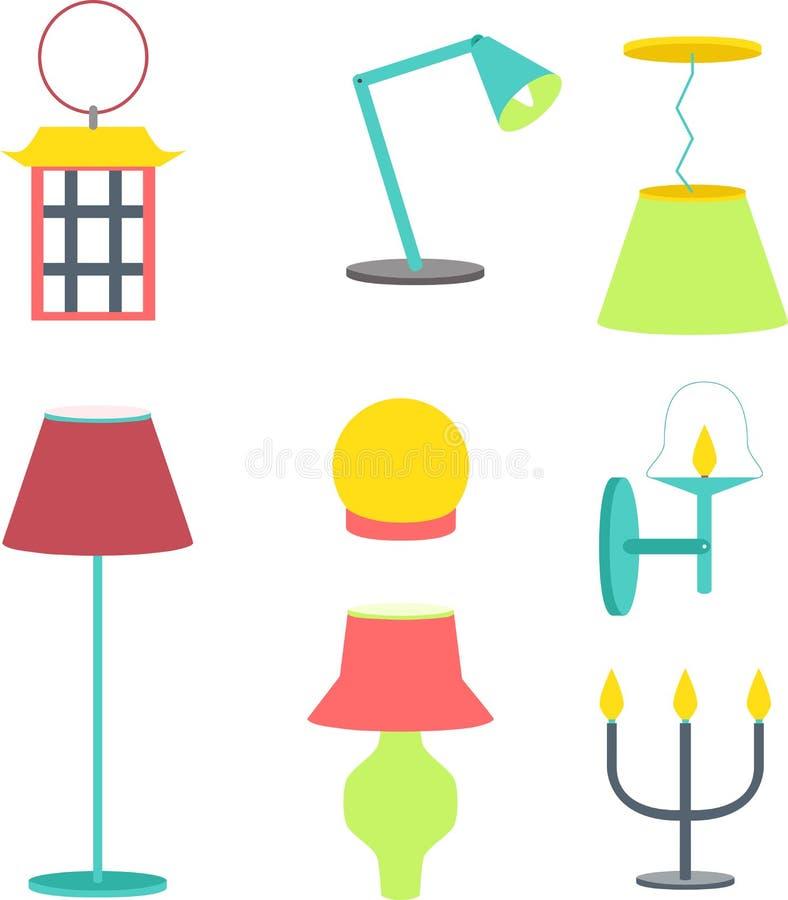 inställda olika lampor Möblemang- och golvlampor och tabelllampor vektor illustrationer