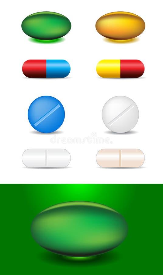 inställda olika mediciner för kapslar stock illustrationer