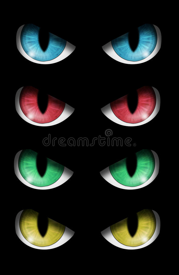 inställda onda ögon vektor illustrationer