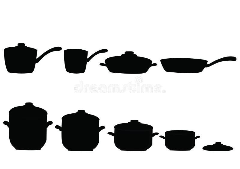inställda pannakrukar royaltyfri illustrationer