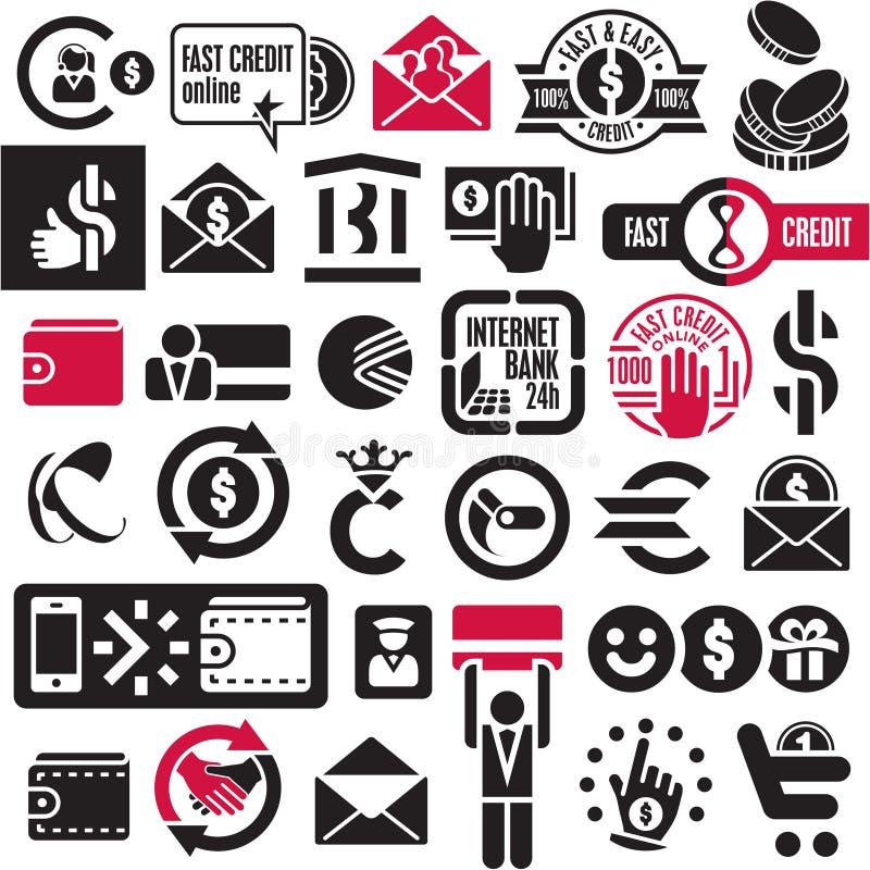 Inställda pengar- och bankrörelsesymboler stock illustrationer