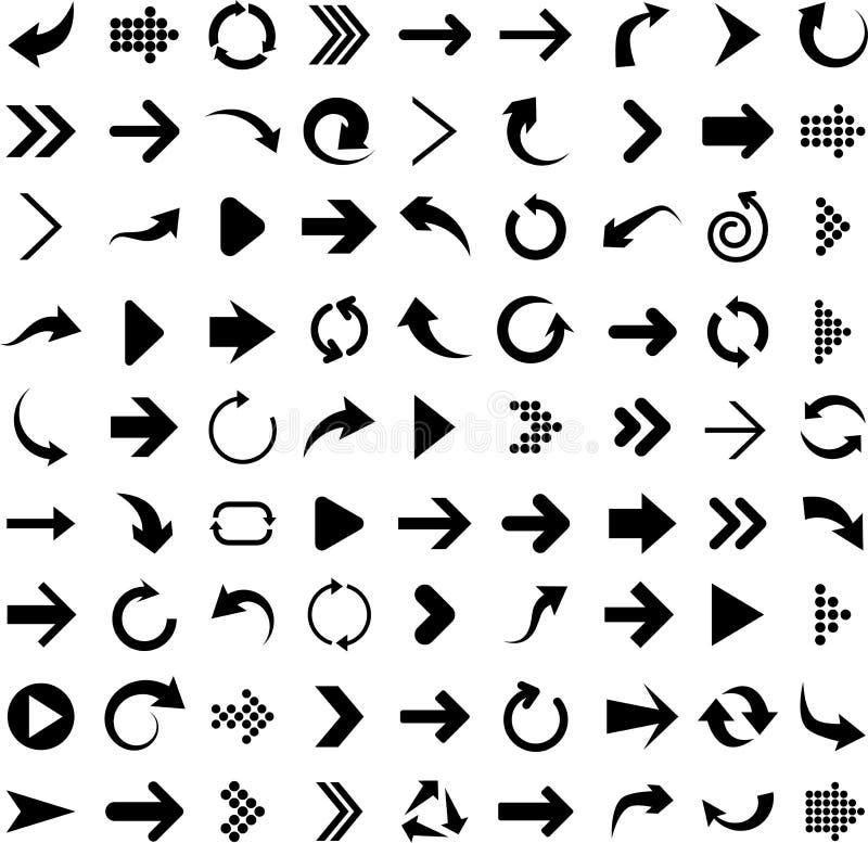 inställda pilsymboler vektor illustrationer