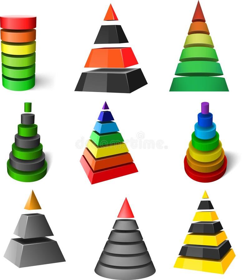inställda pyramider stock illustrationer