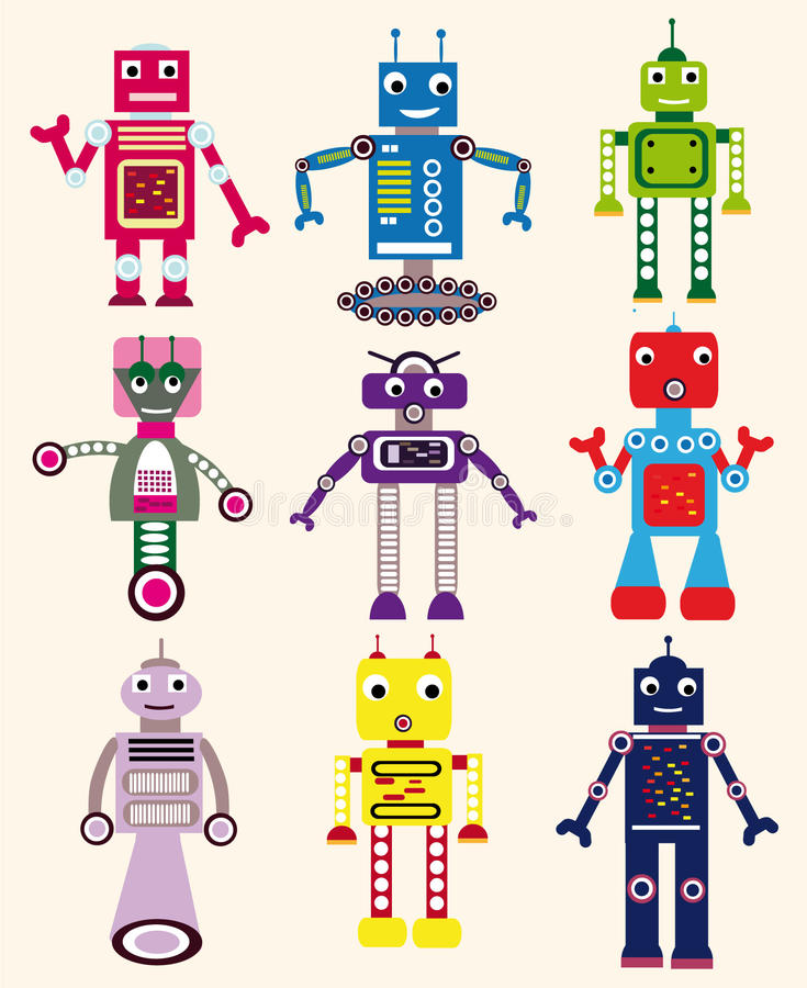 inställda robotar vektor illustrationer