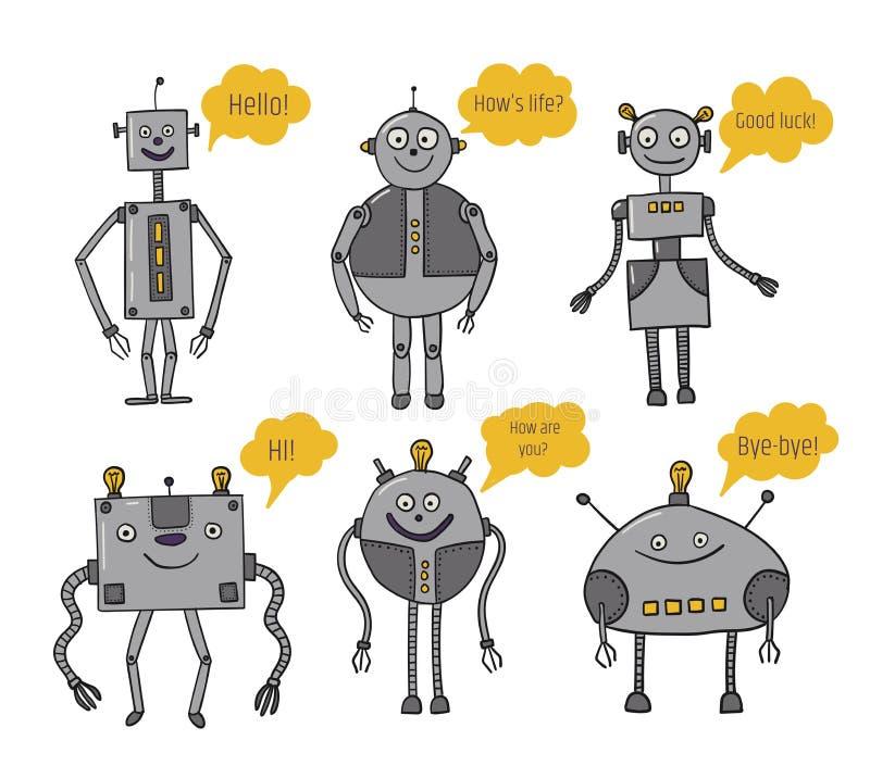 inställda robotar Bots säger konstgjord intelligens framtida teknologier Metalltecken Robotization och automation av royaltyfri illustrationer