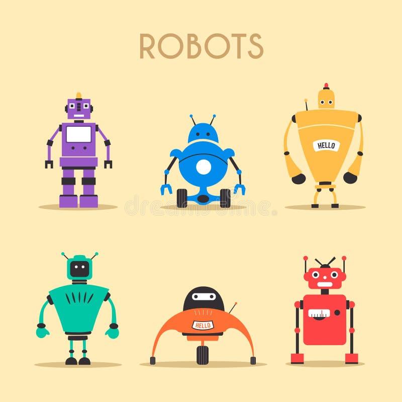 inställda robotar tappning för stil för illustrationlilja röd den främmande tecknad filmkatten flyr illustrationtakvektorn royaltyfri illustrationer