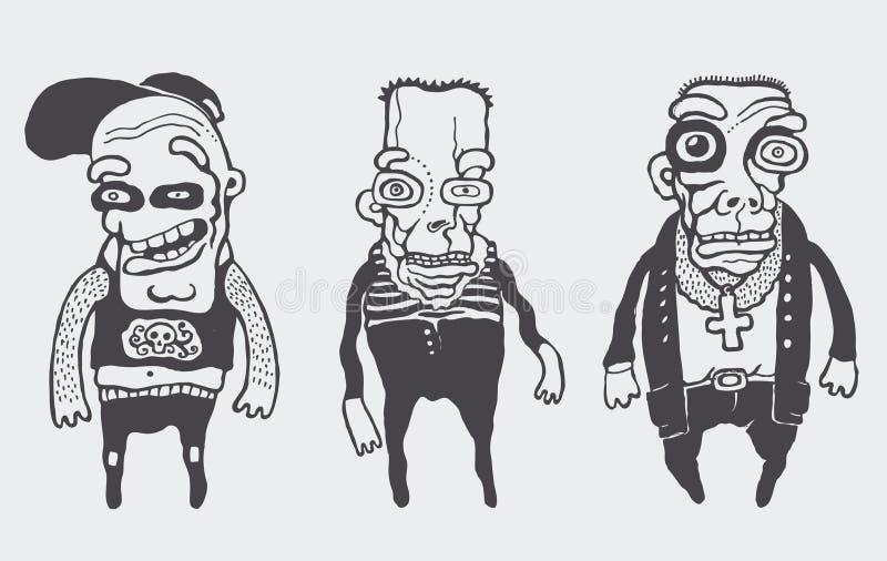 inställda roliga personages royaltyfri illustrationer